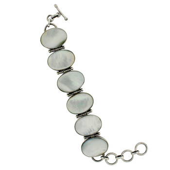 Mother of Pearl sterling silver bracelet open and shows length.