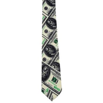 Money print neck tie with 100 dollar bills.