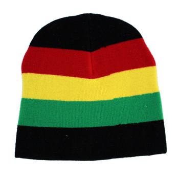 Rasta reggae black knit beanie.