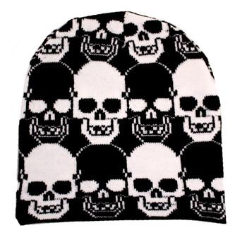 Black and white skulls on black beanie.