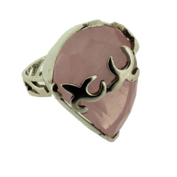 Large Rose Quartz sterling silver ring.