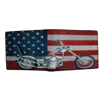 American Flag & Motorcycle Outside Men's Genuine Black Leather Bi Fold Wallet