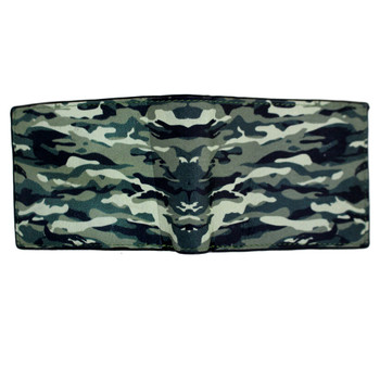 Camouflage Outside Men's Genuine Black Leather Bi Fold Wallet