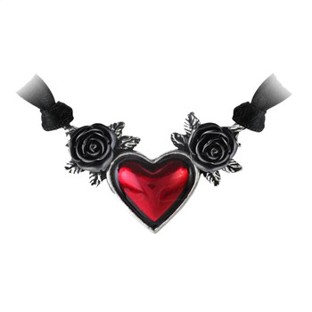 Alchemy Gothic P746 Blood Heart and Black Rose Necklace Pewter Jewelry