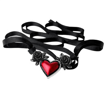 Blood Heart Pendant and Necklace by Alchemy Gothic Pewter Jewelry P746 Black Roses