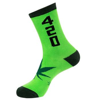 Men or Women's Marijuana Pot Leaf 420 Green Novelty Crew Socks
