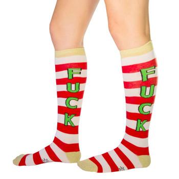 Men's or Women's F*CK Christmas Holiday Striped Knee High Socks