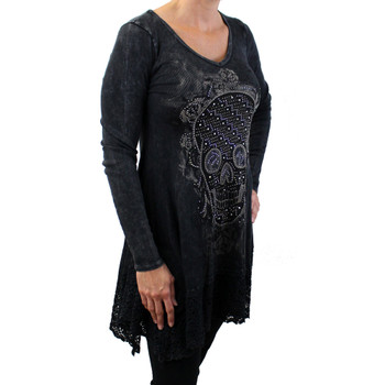Vocal long sleeved tunic shirt with skull & roses.