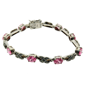 Pink Marcasite sterling silver bracelet.