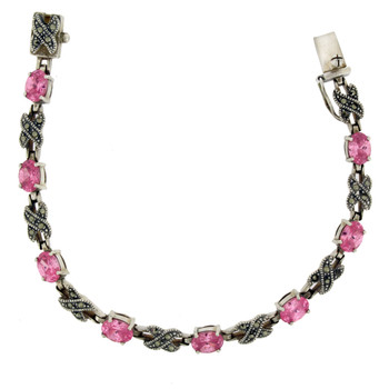 Pink Marcasite sterling silver bracelet top view.