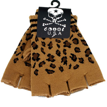 Leopard print fingerless gloves.