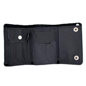 Plain black XL biker trifold leather wallet.