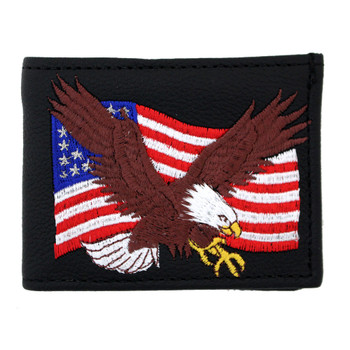 Bifold black leather wallet with embroidered eagle and American flag.