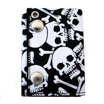 White skull trifold biker wallet.
