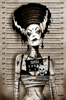 Bride of Frankenstein Mugshot by Marcus Jones Screaming Demons Canvas Giclee Art Print