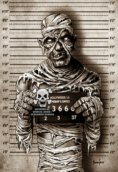 Mummy Mugshot by Marcus Jones Screaming Demons Canvas Giclee Art Print