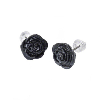Alchemy Gothic Black Rose Stud Earrings Pewter Jewelry E339