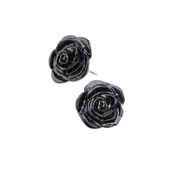 Alchemy Gothic E339 Black Rose Pewter Stud Earrings