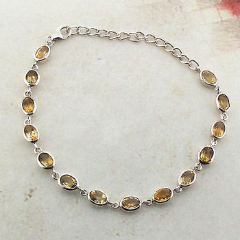 Yellow Citrine Sterling Silver Bracelet Faceted Stones Gemstone Jewelry