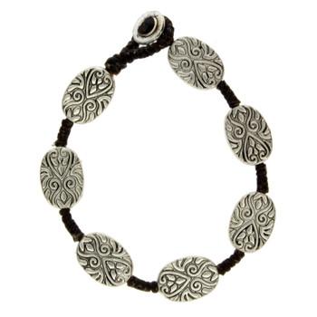 Oval floral design silver alloy bracelet.