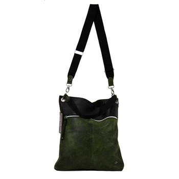 Leather and tiretube crossbody bag.