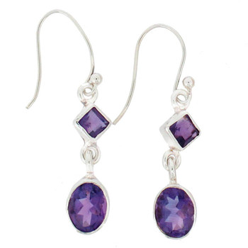 Amethyst sterling silver dangle earrings.