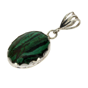 Small Oval Malachite Pendant Sterling Silver