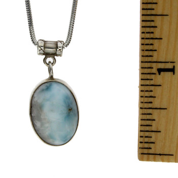 Light blue Larimar sterling silver pendant with ruler.