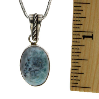 Small oval Larimar sterling silver pendant with ruler.
