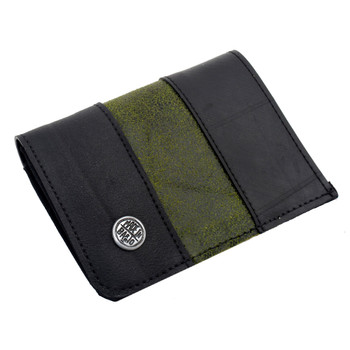 Recycled tire tube and distressed leather wallet.