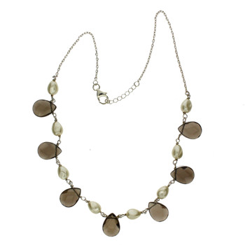 Smokey Topaz and Pearl necklace.