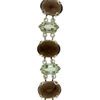 Smoky Quartz and Green Quartz Sterling Silver Bracelet