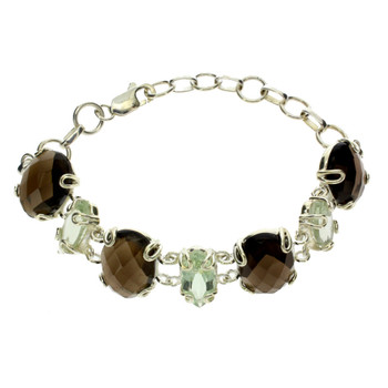 Green Quartz and Smoky Quartz sterling silver bracelet.