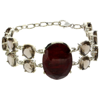 Raw Ruby and Smoky Quartz bracelet.