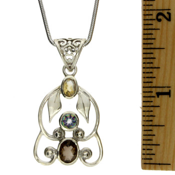 Sterling Silver Multi Stone Pendant