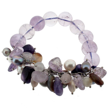 Amethyst, Pearl and sterling silver beaded bracelet.