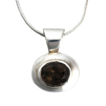 Smoky Topaz small sterling silver pendant.