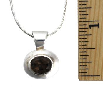 Smoky Topaz sterling silver pendant shown measured.