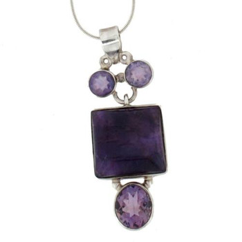 Amethyst Sterling Silver Pendant Cabachon Faceted February Birthstone Purple
