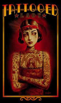 Tattooed Lady Canvas Giclee