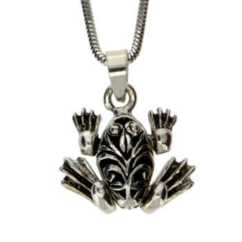 Sterling Silver Frog Pendant with Moving Legs
