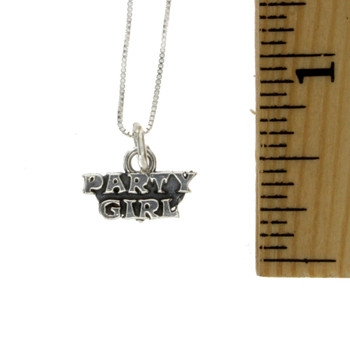 "Party Girl Sterling Silver Charm Pendant with 18"" Box Chain Necklace"
