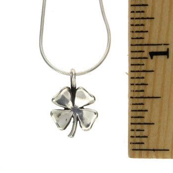 "Four Leaf Clover Sterling Silver Charm Pendant with 18"" Snake Chain Necklace"
