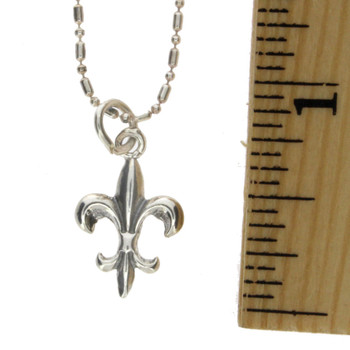 "Fleur de Lis Sterling Silver Charm Pendant with 18"" Ball Bead Chain Necklace"