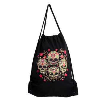 Four skulls and flower design on a cotton sack backpack.