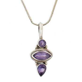 Amethyst sterling silver pendant.