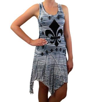 Vocal Apparel Women's Striped Tunic Tank Mini Dress Fleur De Lis Rhinestones