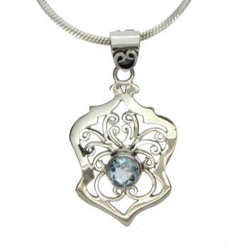 Blue Topaz sterling silver pendant.