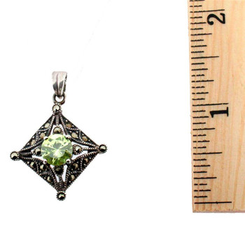 Green CZ Marcasite Sterling Silver Pendant Vintage Style