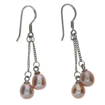 Pink sterling silver dangle earrings.